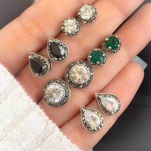 NEW! 5 PAIRS SET SILVER CRYSTAL CZ EARRINGS STUD